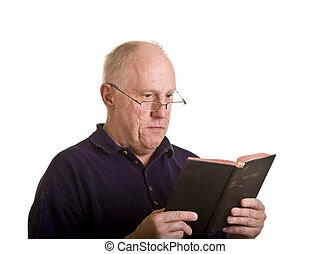 plus vieux, bible, lecture, homme, attentivement