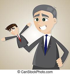 plus vieux, patron, manipulé, marionnette, homme affaires, dessin animé