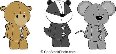 plush animals kawaii style cartoons collection set