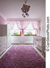 Plush carpet in baby room