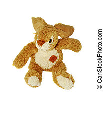 Plush Hare on a white background - Plush Hare toy on a white...