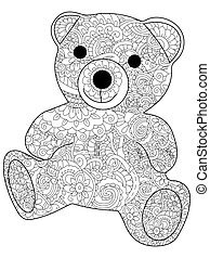 Plush toy bear coloring vector for adults - Plush toy bear...