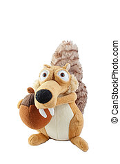 Plush toy squirrel isolated on white background