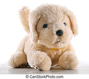 plushy, cão, isolado, branco