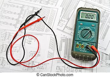 plusieurs, arrangements, de, électrique, et, électrique, testeur