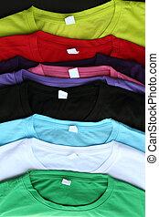 plusieurs, coloré, t-shirts