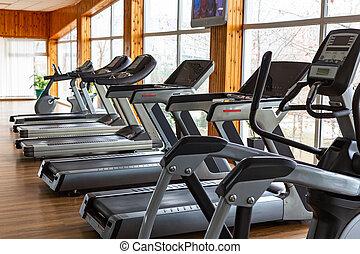 plusieurs, panoramique, fenetres, machines, gymnase, jogging