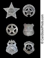 plusieurs, police, shérif, insignes