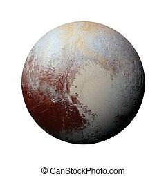 pluto., -, 체계, 고립된, 행성, 배경., 태양의, 백색
