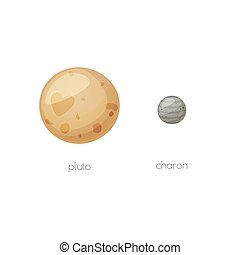 Pluto and its moon Charon, space objects in cartoon style