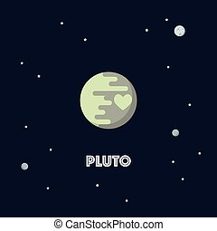 Pluto on space background