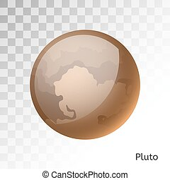 Pluto planet 3d vector illustration. Globe Pluto texture map...