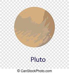 Pluto planet icon, flat style