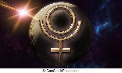 Pluto zodiac horoscope symbol and planet. 3D rendering - 3D...