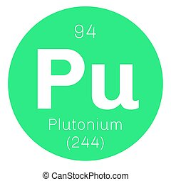 Plutonium chemical element. Actinide dangerous radioactive metal of silver gray appearance.