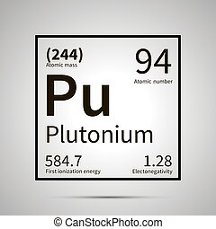 Plutonium chemical element with first ionization energy, atomic mass and electronegativity values ,simple black icon with shadow on gray