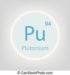 plutonium Pu chemical element icon- vector illustration