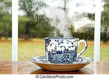 pluvieux, café, jour