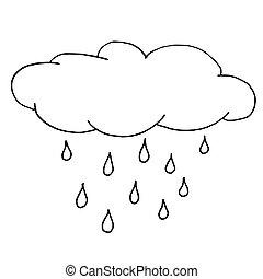 pluvieux, contour, croquis, drawing., illustration, main, automne, arrière-plan., vecteur, noir, cloud., monochrome, blanc