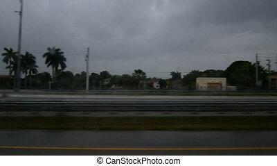 pluvieux, floride, jour, autoroute