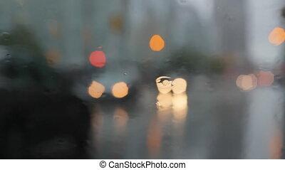 pluvieux, freinage, fenêtre, traffic.