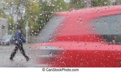 pluvieux, intérieur, voiture., traff, dépassement, jour