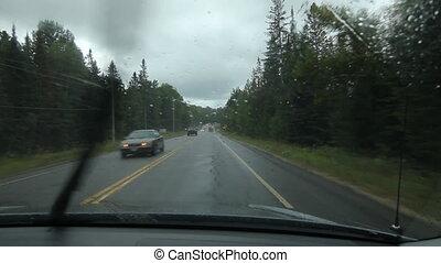 pluvieux, muskoka., conduire, traffic.