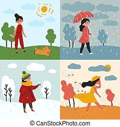pluvieux, neigeux, quatre saisons, girl, weather.