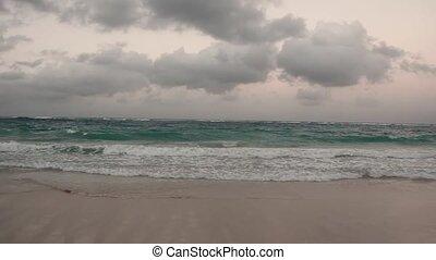 pluvieux, nuageux, temps, cieux, mer, paysage