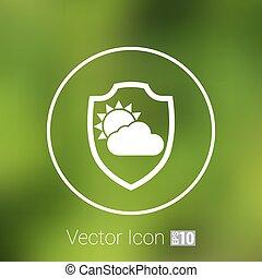 pluvieux, parapluie, temps, vector., nuages, icône