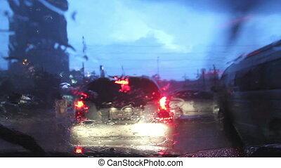 pluvieux, rue, conduite