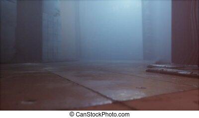 pluvieux, rue, nuit, vieux, brouillard, ville