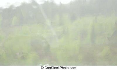 pluvieux, saison, gouttes, de, pluie, tomber, sur, fenêtre,...