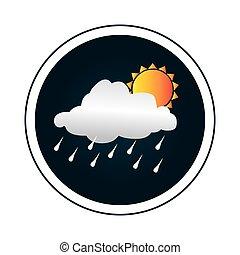 pluvieux, silhouette, coloré, soleil, frontière, nuage, circulaire
