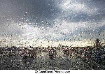 pluvieux, trafic, fenêtre