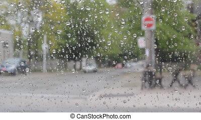 pluvieux, voiture., intérieur, jour