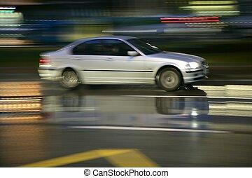 pluvieux, voiture, nuit, mouvement, en mouvement, barbouillage