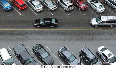 pluvieux, voitures, by., rue., autobus, aller