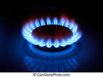 plyn, oheň