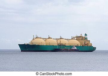 plyn, tanker, transporting, rozpustit, zemní plyn