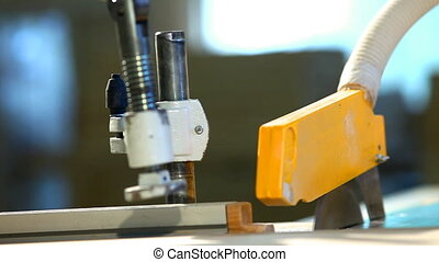 plywood factory - circular saw at work close up
