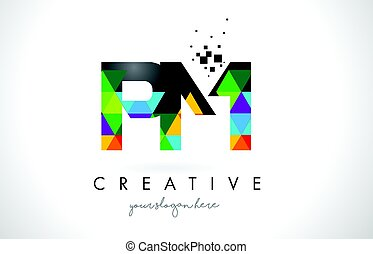 PM P L Letter Logo with Colorful Triangles Texture Design...