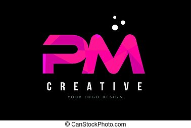 PM P L Letter Logo with Purple Low Poly Pink Triangles...