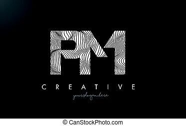 PM P L Letter Logo with Zebra Lines Texture Design Vector. -...