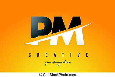 PM P L Letter Modern Logo Design with Yellow Background and...
