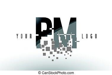 PM P L Pixel Letter Logo with Digital Shattered Black...