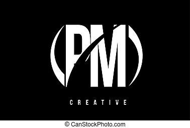 PM P L White Letter Logo Design with Black Background. - PM...