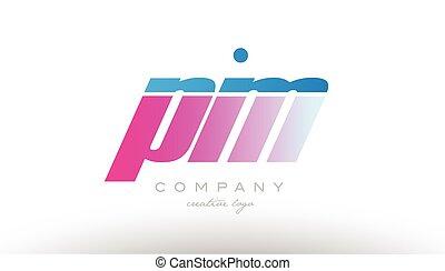 pm p m alphabet letter combination pink blue bold logo icon...