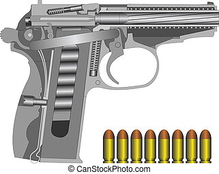 PM scheme - Detailed russian pistol scheme isolated on...