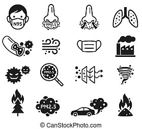p.m., vector, polvo, 2.5, micro, icons., illustrations.